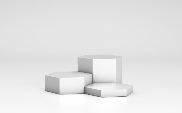 Podio vuoto, modello di scaffale del prodotto. favo, esagoni e fondo grigi. rendering 3d.