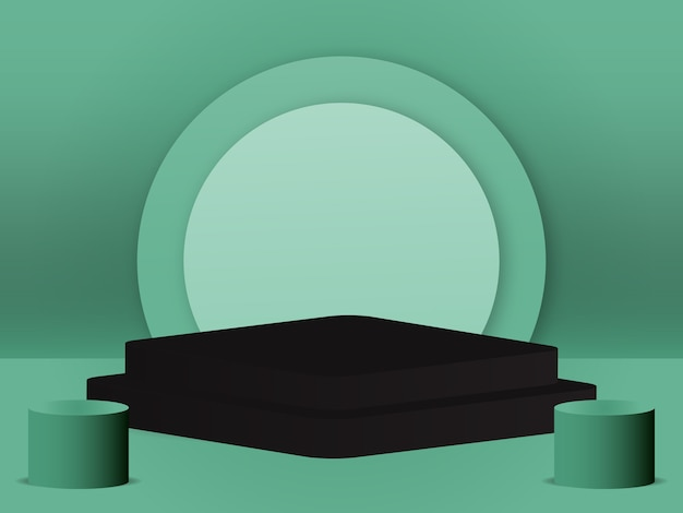 Podio vuoto studio 3d rendering vettoriale concetto minimo morbido colore verde di sfondo per i prodotti