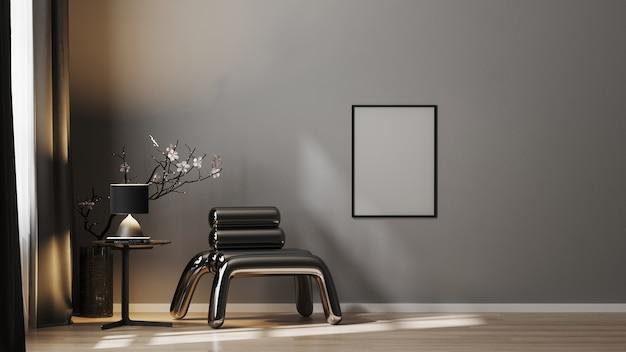 Fotogramma poster vuoto sul muro grigio sfondo interni di lusso in toni scuri con poltrona in metallo, rendering 3d