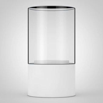 Vetrina di vetro promozionale vuota con piedistallo su sfondo bianco. rendering 3d