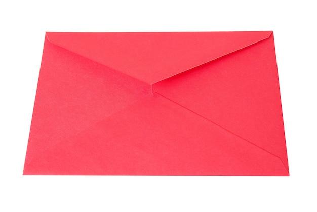 Busta rossa vuota isolata su priorità bassa bianca