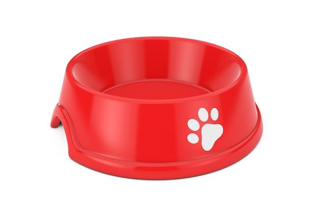 Ciotola di plastica rossa vuota per cane, gatto o altri animali domestici su sfondo bianco. rendering 3d