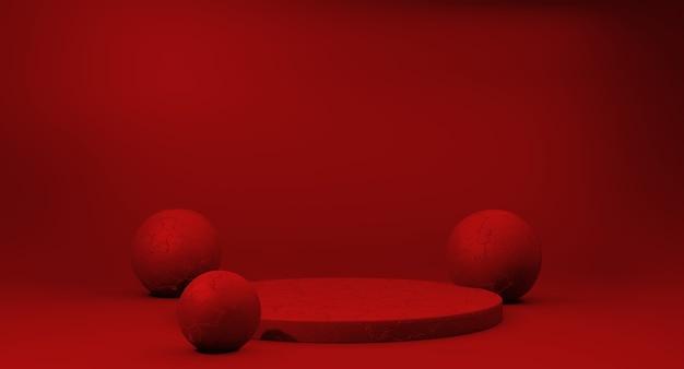 Podio rosso vuoto per prodotto da esposizione