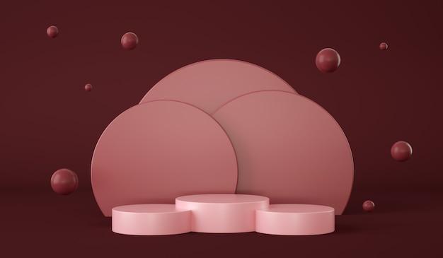 Podio rosso vuoto con cerchi sullo sfondo e sfere che galleggiano presentazione del prodotto d rendering