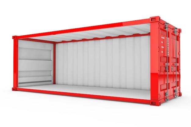 Contenitore di spedizione rosso vuoto con parete laterale rimossa su sfondo bianco. rendering 3d.