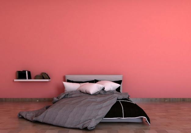 Svuoti il fondo rosso della parete in camera da letto