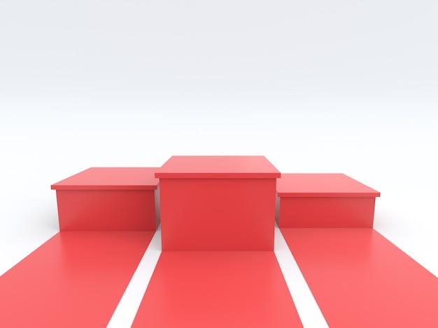 Svuoti il podio rosso dei vincitori su fondo bianco.