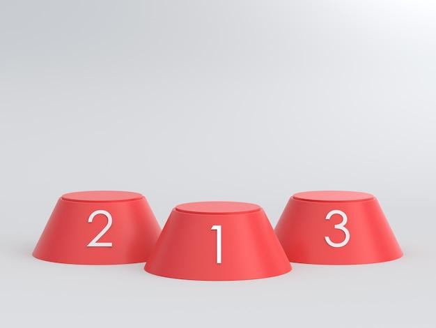 Svuoti il podio rosso dei vincitori su fondo bianco