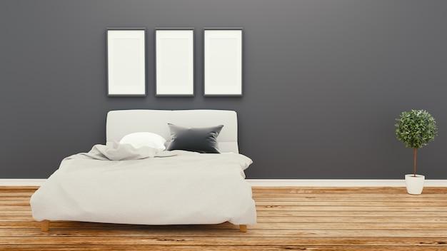 Stanza vuota, parete scura della camera da letto sul pavimento di legno rappresentazione 3d