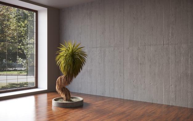 Parete nera dell'intonaco della stanza vuota con l'albero dei bonsai nella progettazione 3d del modello del vaso che rappresenta 3d illustrati