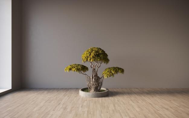 Parete nera dell'intonaco della stanza vuota con l'albero dei bonsai nella rappresentazione 3d di progettazione del modello del vaso
