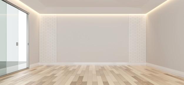 Spazio vuoto della copia di progettazione della stanza con il rendering 3d del pavimento in legno