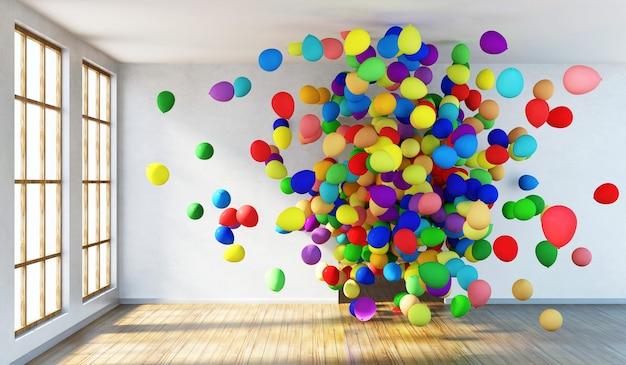 Interno stanza vuota con un gruppo di palloncini multicolori