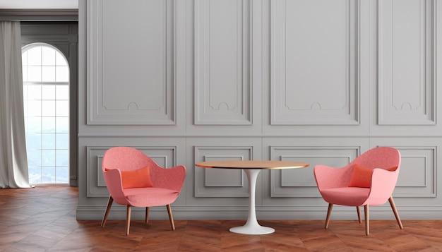 Interno classico moderno stanza vuota con pareti grigie, poltrone rosa, tavolo, tende e finestre. 3d render illustrazione.