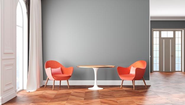 Interno scandinavo stanza vuota con pareti grigie, poltrone rosse, rosa, tavolo, tende e finestre. 3d render illustrazione.