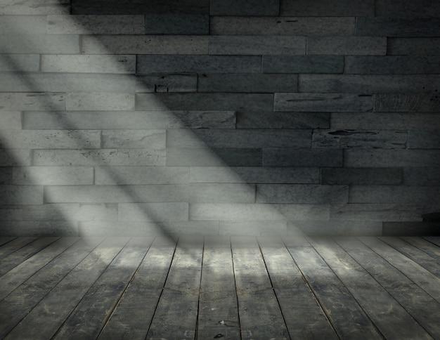 Spazio vuoto della stanza per lo sfondo con pavimentazione e vecchio muro