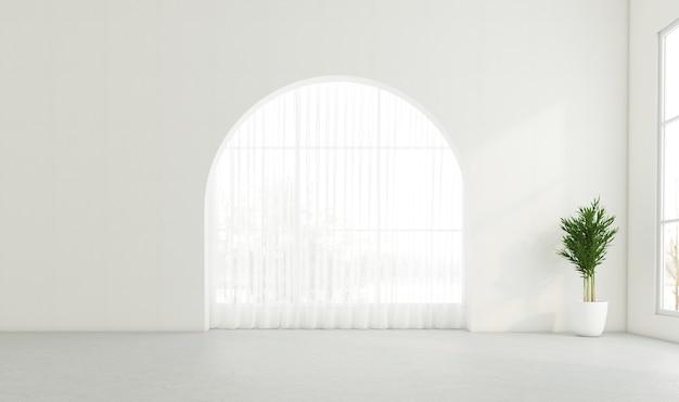 Stanza vuota con finestra ad arco e muro bianco. rendering 3d