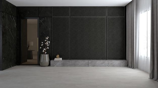 Stanza vuota con parete nera.