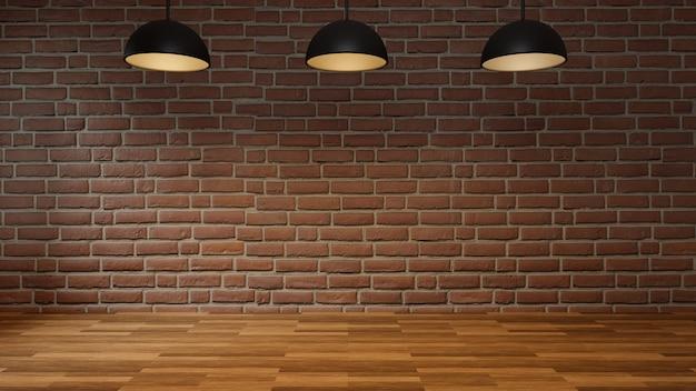 Stanza vuota con il pavimento di legno del muro di mattoni e la lampada moderna del soffitto. stile loft interno, rendering 3d.