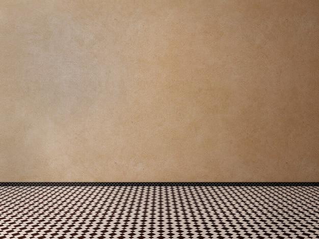 Stanza vuota con pareti rustiche marroni e pavimenti piastrellati