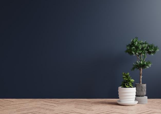 Stanza vuota con parete blu scuro e piante sul pavimento in legno