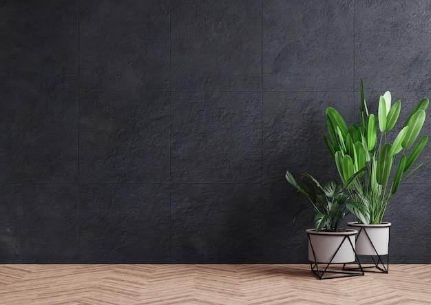 Stanza vuota con muro di cemento scuro e vaso per piante sul pavimento