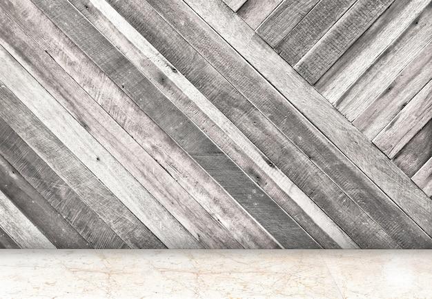 Stanza vuota con parete in legno diagonale e sala da pavimento in marmo, template mock up per il tuo contenuto