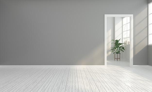 Stanza vuota con muro grigio e porta bianca