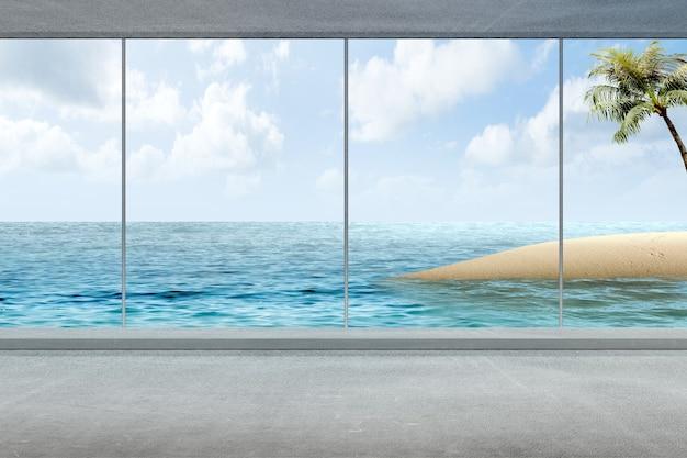 Stanza vuota con vista sull'oceano e sullo sfondo del cielo azzurro