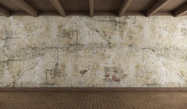 Stanza vuota con vecchio muro, pavimento in legno e soffitto in legno. rendering 3d