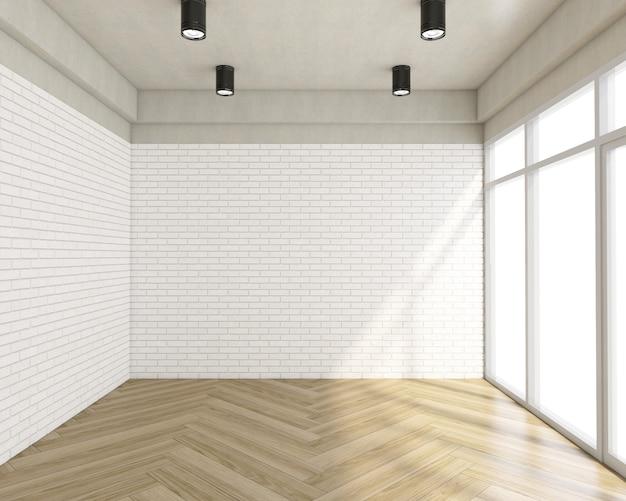 Stanza vuota con muro di mattoni bianchi e pavimento in legno