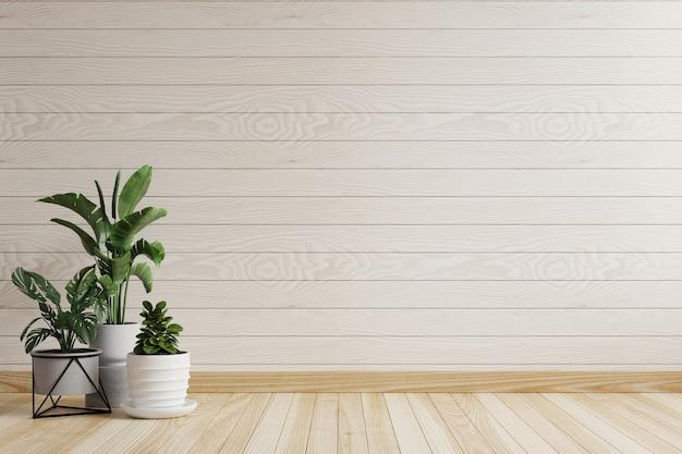 Stanza vuota con pareti e piante in legno bianco