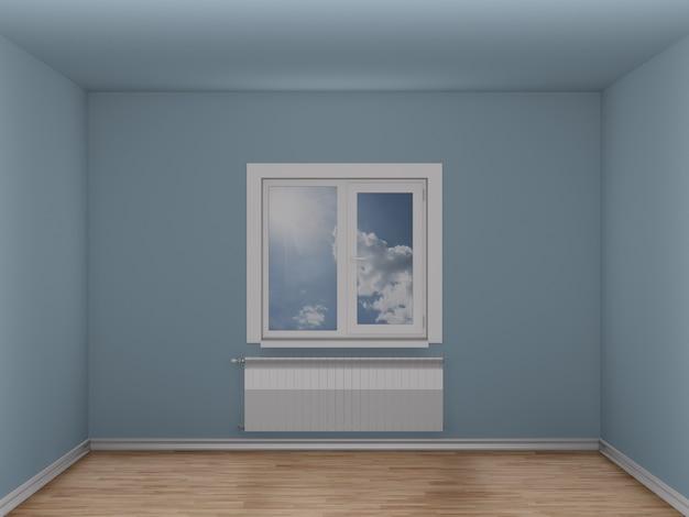 Stanza vuota con finestra e radiatore di riscaldamento. illustrazione 3d