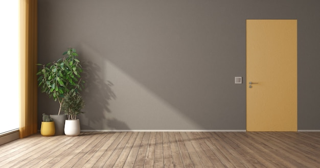 Stanza vuota con porta a filo muro giallo e piante d'appartamento - rendering 3d