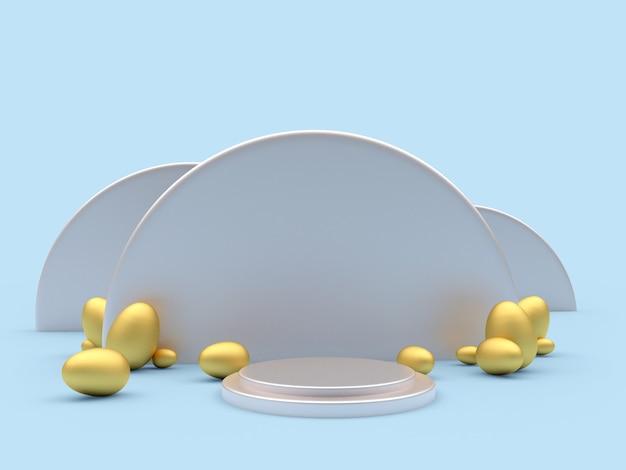 Piattaforma rotonda vuota con uova di pasqua dorate