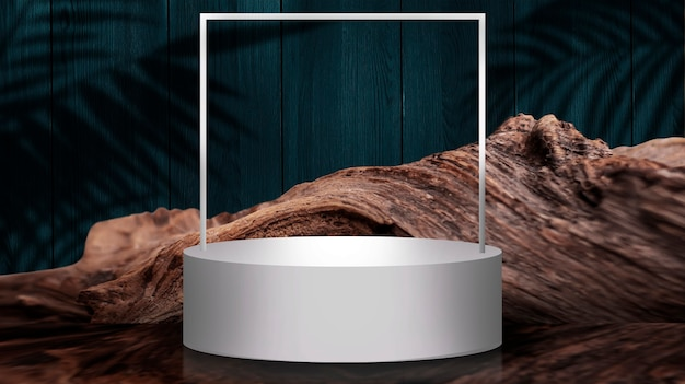 Scena rotonda vuota. spazio vuoto, podio bianco per soggetto, presentazione.