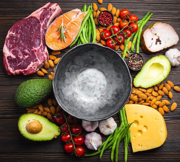 Ciotola rustica vuota con ingredienti a basso contenuto di carboidrati per un'alimentazione pulita e perdita di peso, spazio copia, vista dall'alto. alimenti cheto: carne, pesce, avocado, formaggio, verdure, noci. concetto di dieta chetogenica, grassi sani