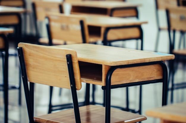 Aula scolastica vuota con scrivania sedia in legno