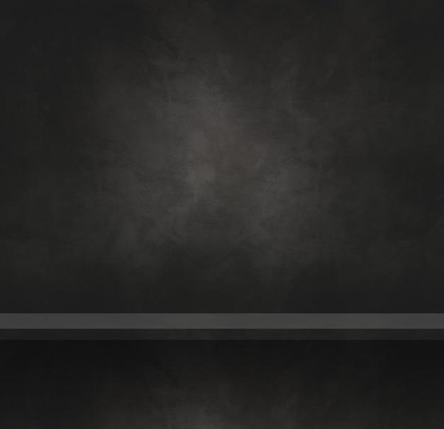 Scaffale vuoto su un muro di cemento nero. scena del modello di sfondo. banner quadrato
