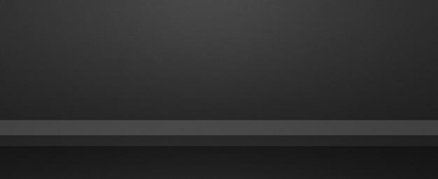 Scaffale vuoto su una parete nera. scena del modello di sfondo. banner orizzontale