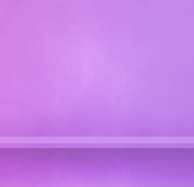 Scaffale vuoto su una parete color malva. scena del modello di sfondo. banner quadrato