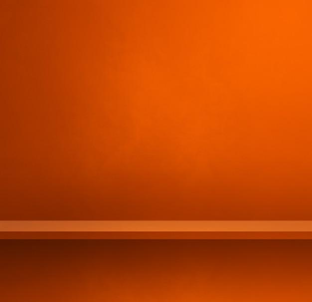 Scaffale vuoto sulla parete arancione. scena del modello di sfondo. banner quadrato