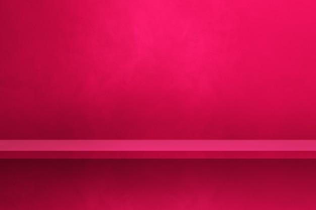 Scaffale vuoto su una parete rosa. scena del modello di sfondo. sfondo orizzontale