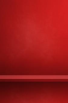 Scaffale vuoto su una parete rossa. scena del modello di sfondo. sfondo verticale