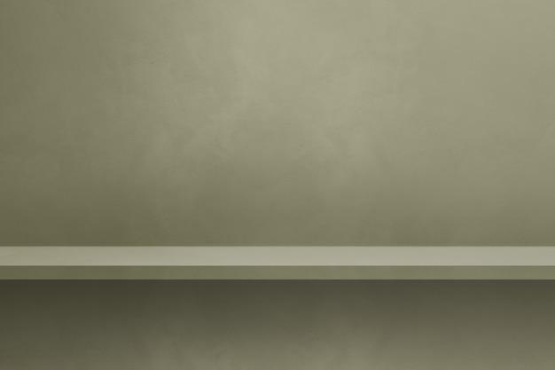 Scaffale vuoto su un muro grigio colorato. scena del modello di sfondo. sfondo orizzontale