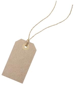 Modello di tag dello shopping vuoto. isolato su bianco con tracciati di ritaglio