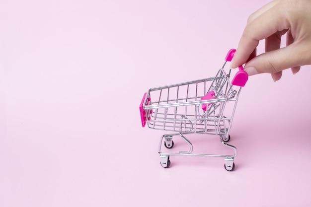 Carrello della spesa vuoto con le mani della donna. supermercato di alimentari, cibo e mangia online