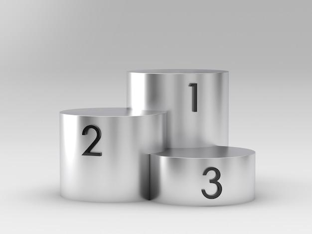 Podio d'argento vuoto dei vincitori su fondo bianco. rendering 3d
