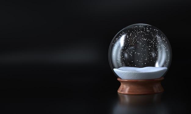 Natale vuoto del globo della neve coperto di neve e di fondo scuro