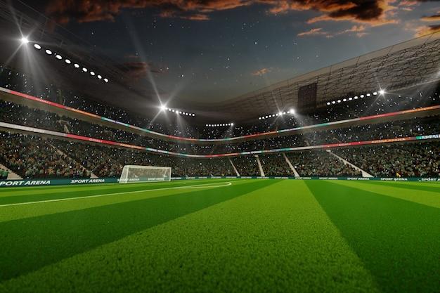 Stadio di calcio vuoto la sera 3d rendering